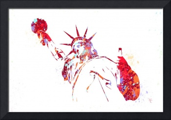 Statue of Liberty - Watercolor - Paint Splatter -