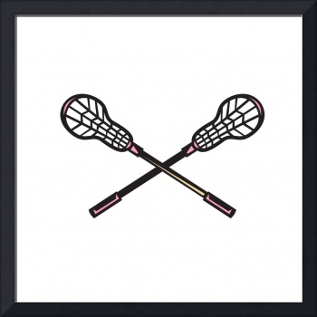 Lacrosse Stick Woodcut