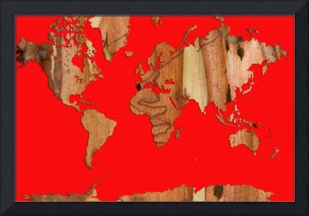 Wood bark worldmap red