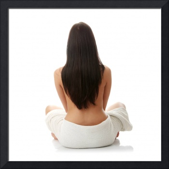 Beautiful caucasian woman sitting - spa concept