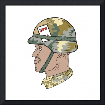 African American US Army Soldier Helmet Playing Ca