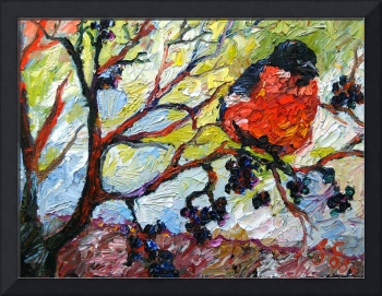 Impressionist Red Bird & Black Berries