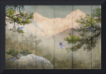 pine rock panel with birds