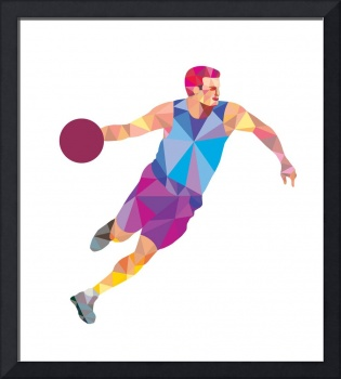 Basketball Player Dribble Front Low Polygon