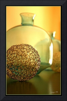 Gold Filligree & Green Glass
