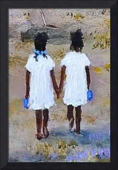 TWIN GIRLS  AFRICAN AMERICAN  FOLK ART KIP HAYES