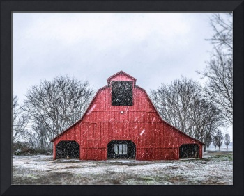 Red Barn in Winter's Storm