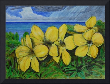 Ocean and Yellow Flowers Cayman Brac Island Landsc