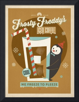 Frosty Freddy's Iced Coffee - Retro Poster