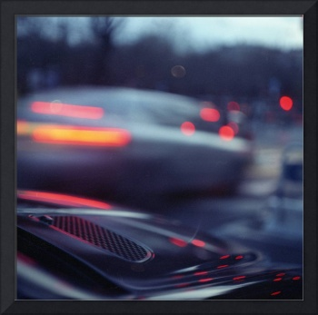 City lights cars in street at dusk Hasselblad medi