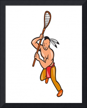 Native American Lacrosse Player Crosse Stick