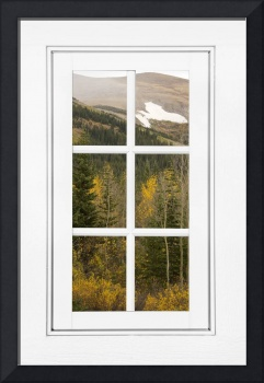 Autumn Rocky Mountain Glacier View White Window
