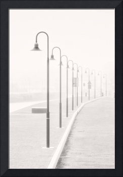 The street lamps in the dock of Senigallia, Italy