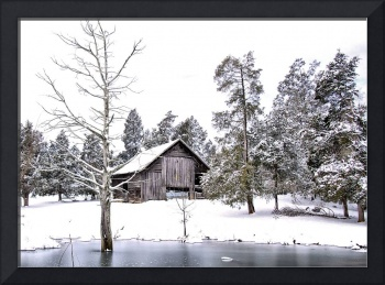 snow covered country barn