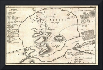 Vintage Map of Athens Greece (1784)