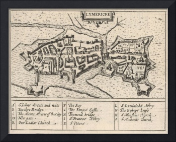 Vintage Map of Limerick Ireland (1618)