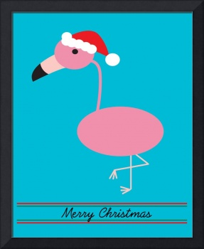 Merry Christmas Pink Flamingos with Santa Hat