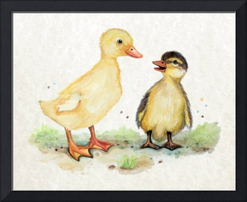 Little Duckling Friends in Watercolor