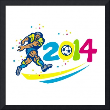 Brazil 2014 Soccer Football Player Isolated Retro