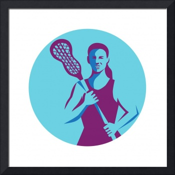 Female Lacrosse Player Stick Circle Retro