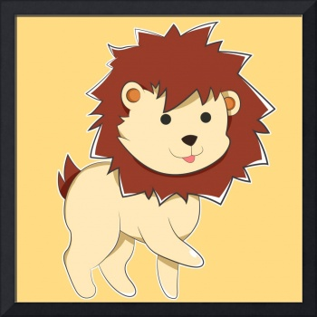 Happy Cartoon Baby Lion