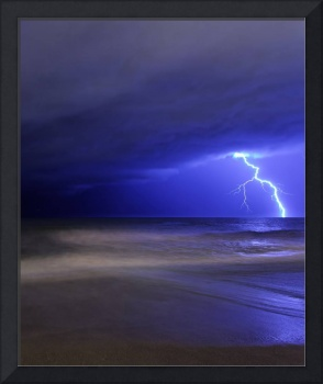 A bolt of lightning from an approaching storm in M
