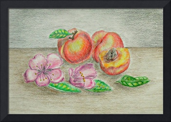 still life Peaches with blossom flowers