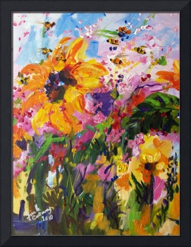 Sunflowers & Bees Original Painting by Ginette
