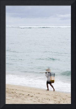 Person Walking On Beach With Fishing Net Bali, In