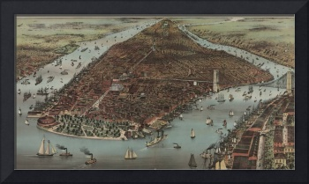 Vintage Pictorial Map of New York City (1883)