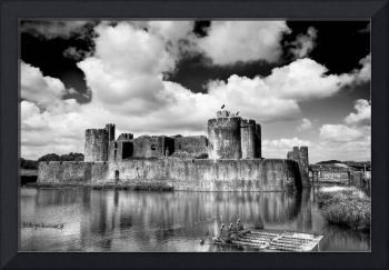 Caerphilly Castle 2 Monochrome
