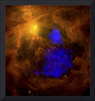 The Orion nebula in the infrared overlaid with XMM