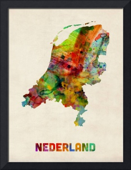 Netherlands Watercolor Map
