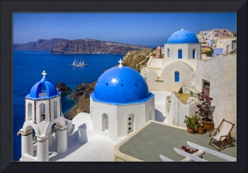 Santorini Images - The Blue Domes and a Sailboat