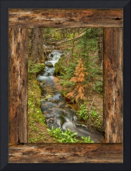 Rustic Cabin Window Forest Creek View