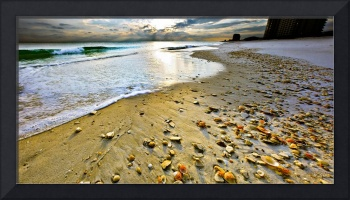 panoramic sunset art print beach shells