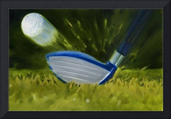 Closeup of Fairway Wood Hitting Golf Ball Print