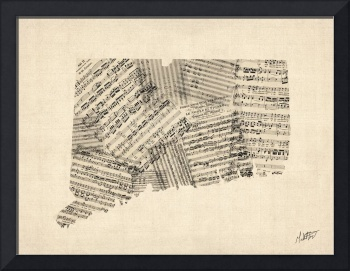 Connecticut Old Sheet Music Map Signed