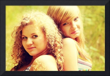 Young teen womans looking at camera on hot summer