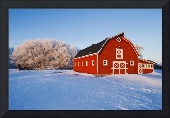 Red Barn , Winter, Near Oakbank, Manitoba, Canada
