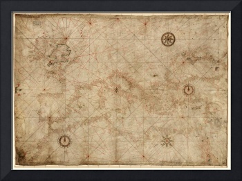 Portolan Chart of the Mediterranean circa 1500