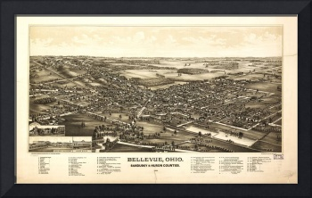 Aerial View of Bellevue Ohio Sandusky & Huron coun