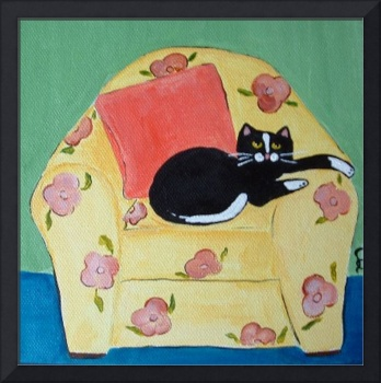 Black Cat on Yellow Chair