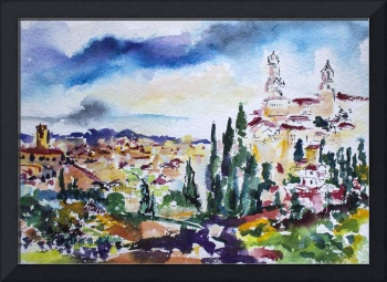 Siena Italy Tuscan Landscape Watercolor