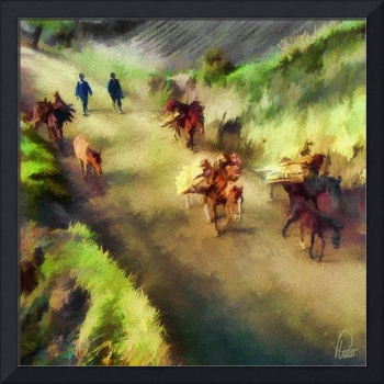 Peasants carrying firewood in horses - Narino Colo