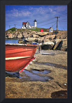 Nubble Light with boat in foreground