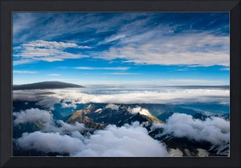 aerial view over mt cook national park