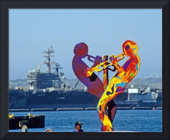 Sculpture and Navy Ship