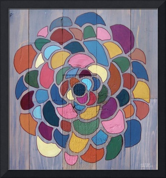 Reclaimed Wood Graphic Flower Painting