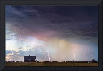 Positive Pink Lightning On the Prairie